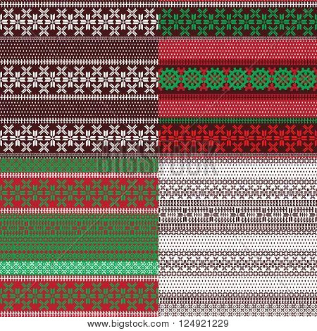 Four seamless background with patterns of Lapland