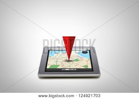 technology, navigation, location and gadget concept - close up of tablet pc computer with gps navigator map on screen over gray background