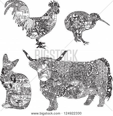 Four different patterns of animals in different regions