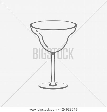 Cocktail margarita empty glass. Vector icon design template