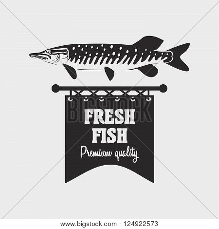 Vintage Style Fresh Fish Stamp, Logo Or Label Design Template. Can Be Used For Design Posters, Flyer