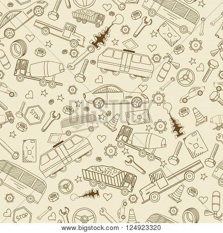 Car transport seamless line art design vector illustration. Separate objects. Hand drawn doodle design elements.