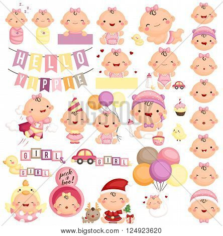 A vector set of cute baby girl milestone action