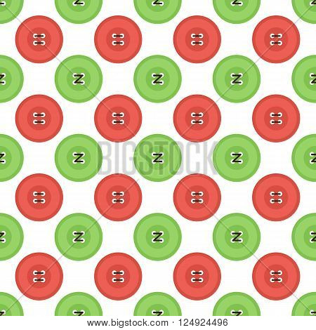 Colorful flat design clothing buttons with threads seamless pattern background.