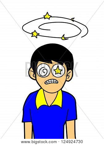 art dizziness boy cartoon on white background
