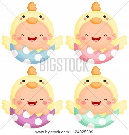 A vector set of baby in easter chick costume