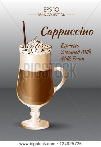 Vector illustration. Coffee drink. Cappuccino in transparent drinking glass cup. Food and drink collection