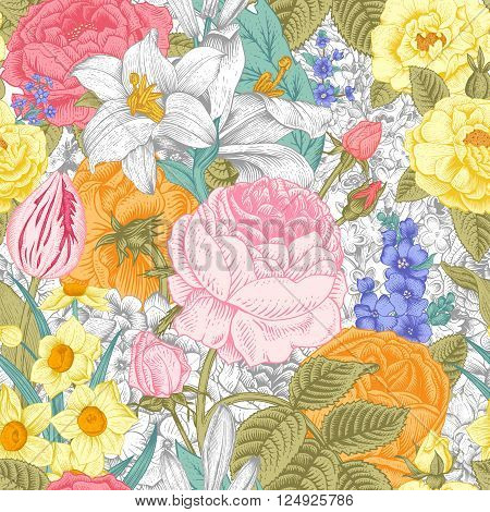 Summer seamless vintage floral pattern. Colorful flowers roses lilies daffodils tulips and white on a gray background. Vector illustration.