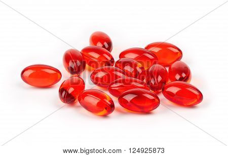 Pills of vitamin E isolated on white background