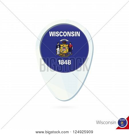 Usa State Wisconsin Flag Location Map Pin Icon On White Background.