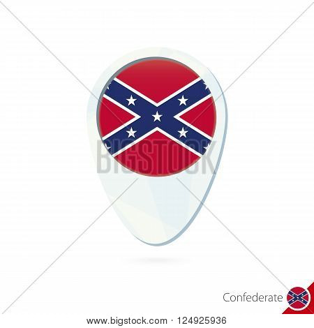 Usa State Confederate Flag Location Map Pin Icon On White Background.