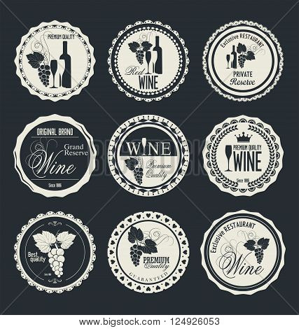 Wine retro vintage label or badge vector illustration