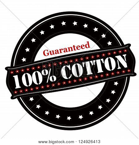 Rubber stamp with text guaranteed one hundred percent cotton inside vector illustration