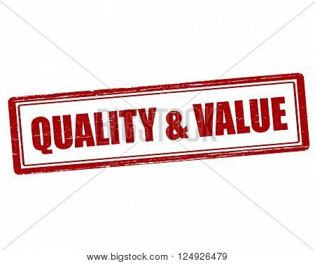 Rubber stamp with text quality and value inside vector illustration