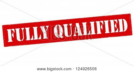 Rubber stamp with text fully qualified inside vector illustration