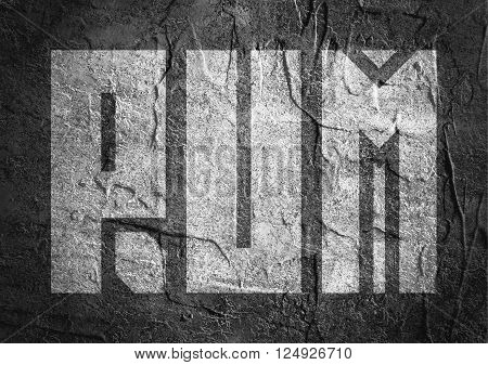 Drink alcohol beverage. Rum word lettering. Concrete textured