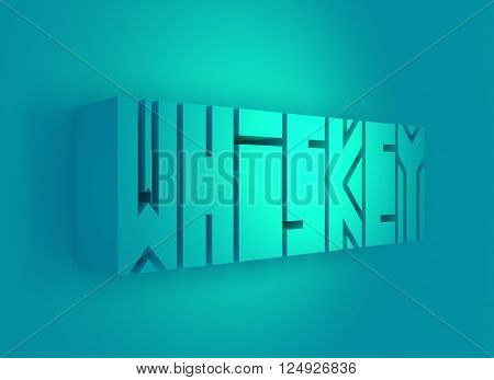 Drink alcohol beverage. Whiskey word lettering. 3D rendering