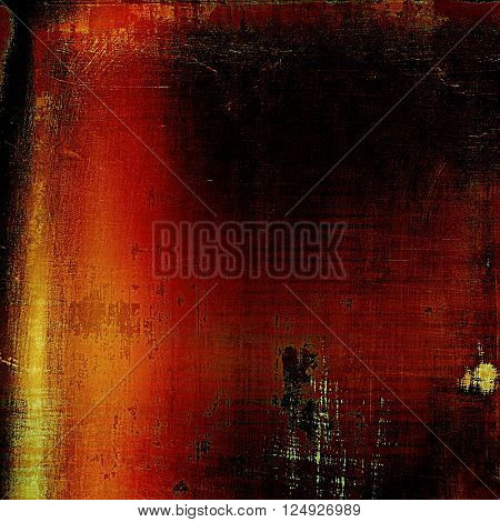 Abstract vintage background with faded grungy texture. Aged backdrop with different color patterns: yellow (beige); brown; red (orange); black