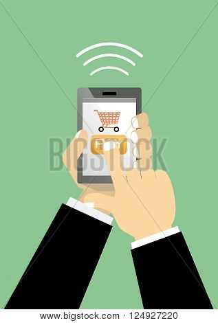 flat vector hand holding mobile and push pay button. business mobile shopping commerce payment concept