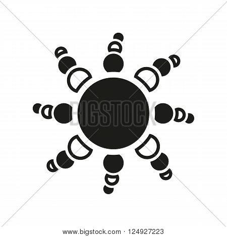 The sun icon. Sunrise and sunshine, weather symbol. UI. Web. Logo. Sign. Flat design. App. Stock vector