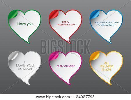 Template - Vector Geometrical Design love Speech bubbles set with curved corner. Valentine's Day romantic card. Speech Bubble Heart