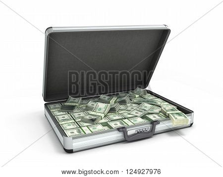 3d illustration of an open metal case with black handle full packs of dollar bills isolated on white background