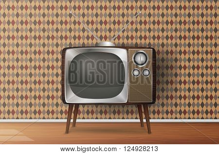 Retro TV in the wooden case, vector