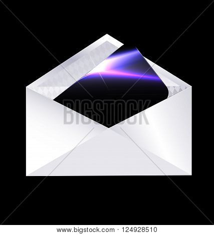 dark background and the envelope with black card inside