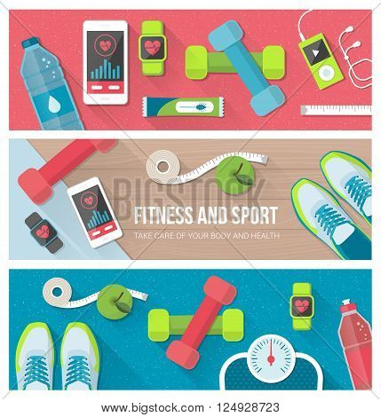 Fitness physical exercise weight loss and technology banners set with sports equipment weight scale smartphone and watch
