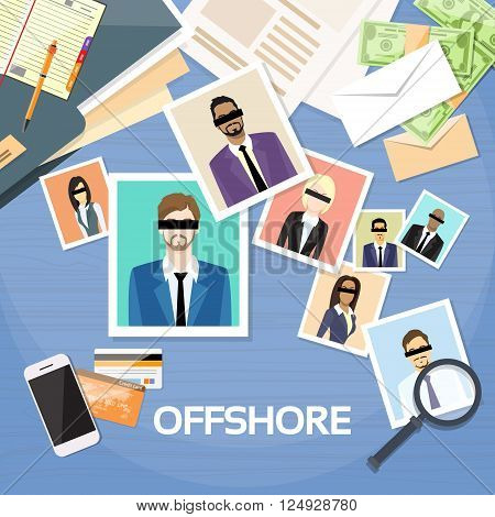 Offshore Papers Documents Company Business People Photo Owners Vector Illustration