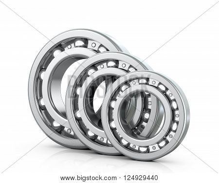 Deep groove ball bearings isolated white background. 3D image