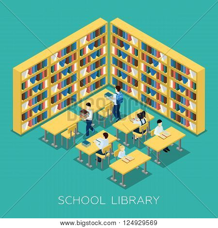 Students studying  and reading books in middle school library with bookshelves educational isometric banner abstract vector illustration