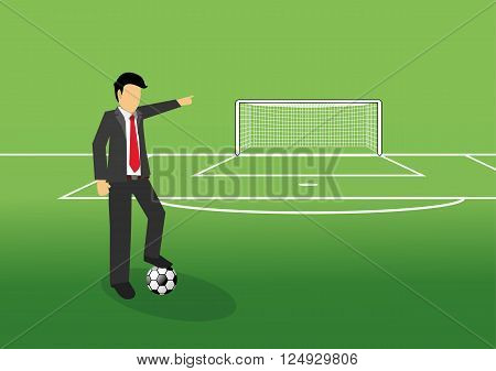 football manager pointing his finger at goal on the field