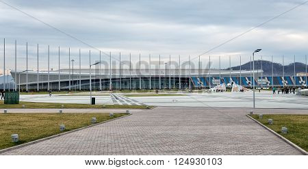Sochi, Russia - February 5, 2016: Sochi Park. Adler-Arena and Medals Plaza