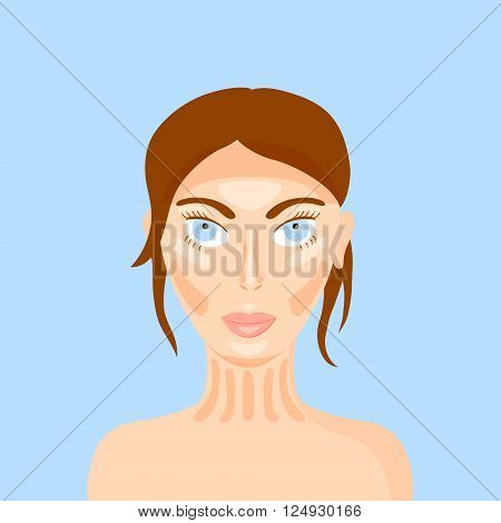 vector illustration of woman face highlighting the makeup trend - contouring