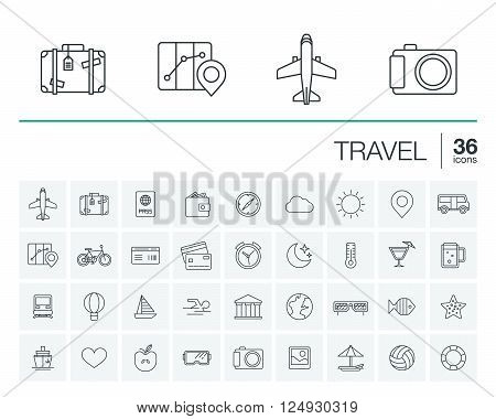 Vector thin line icons set and graphic design elements. Illustration with travel, tourism outline symbols. Summer vacation, airplane, map, luggage, sunglasses linear pictogram