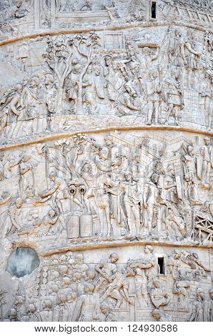 Detail Of The Column Of Traianus, Trajan's Column. Rome, Italy
