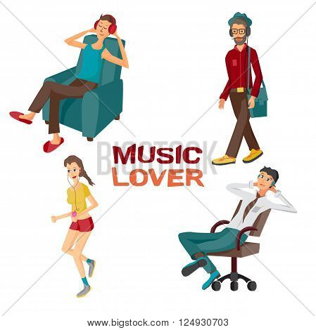 Vector modern flat design people wearing headphones listening music. Cartoon character of music lovers enjoying his favorite track. Music lovers in different situations: home, office, street