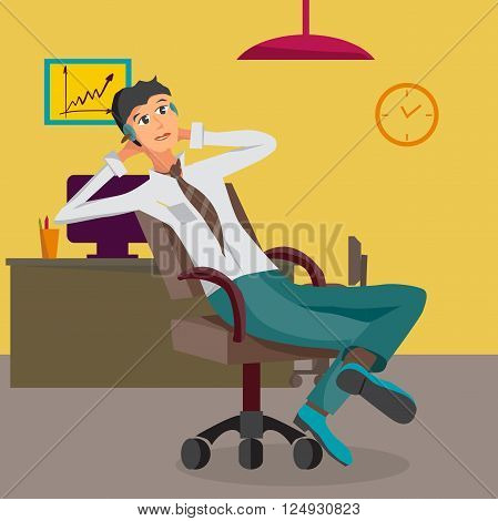 Vector modern flat design businessman wearing headphones listening music. Cartoon character of music lover enjoying his favorite track. Music lover businessman listening to music in office