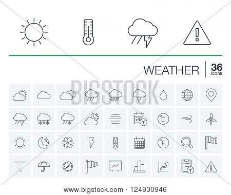 Vector thin line icons set and graphic design elements. Illustration with meteo outline symbols. Weather cast, cloud, rain, snow, moon, thermometer, umbrella flat linear pictogram