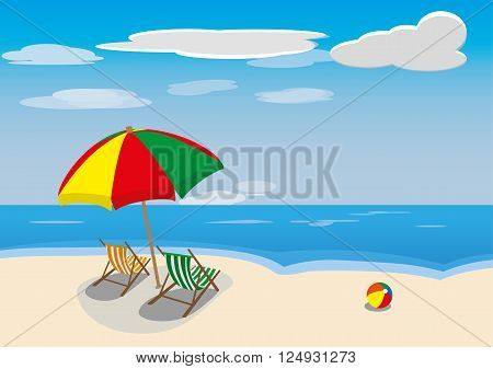 summer beach with sea and sky lanscape vector illustration