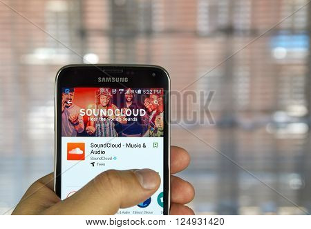 MONTREAL CANADA - APRIL 7 2016 - Soundcloud application on Samsung S5's screen. SoundCloud is a global online audio distribution platform based in Berlin Germany.