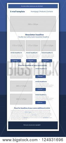 Professional business style newsletter blue template for business organization