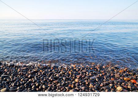 Stone In The Coastline Sunrise And Light