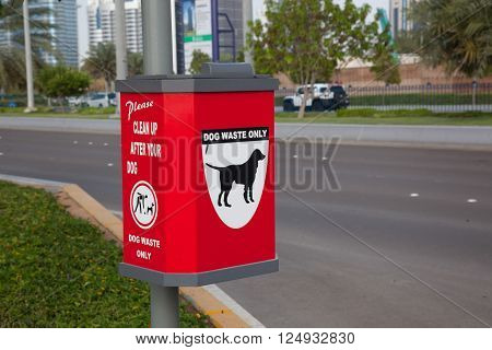 Red colour Dog Waste Only Container in dubai