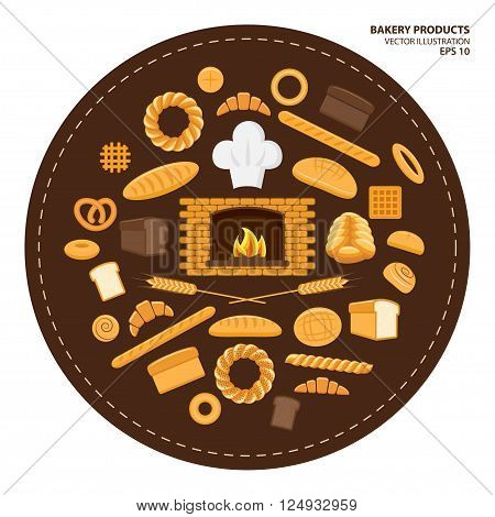 Vector illustration. Flat design style. Set of different kinds of bread and bakery products. Baking bread croissants donuts buns pretzel baton and flour products from bakery or pastry shop