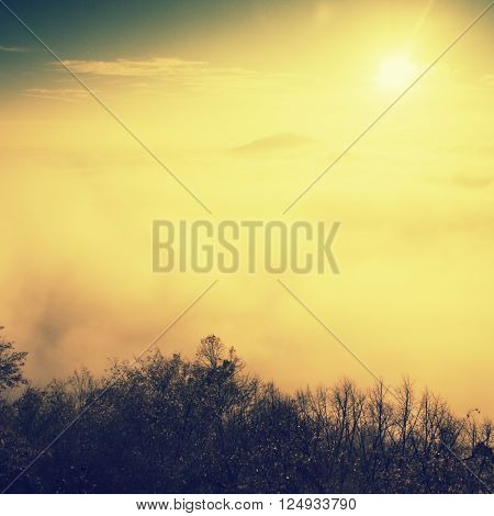 Magnificent Heavy Mist In Landscape. Autumn Fogy Sunrise In A Countryside. Hill Increased From Fog.