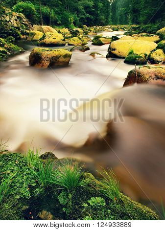 Mountain River With Blurred Waves Of Clear Water. White Curves In Rapids Between Mossy Boulders And