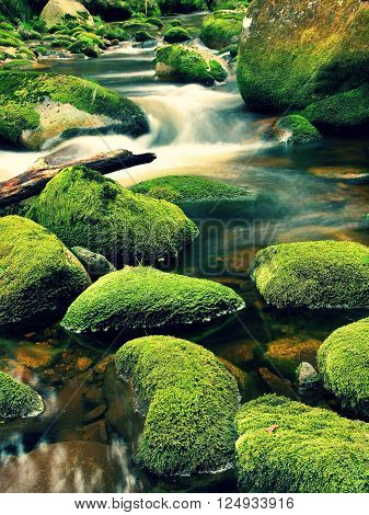 Rot trunk blocked between boulders at stream bank above bright blurred waves. Big mossy stones in clear water of mountain river.