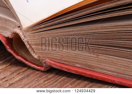 Old open book closeup with selective focus